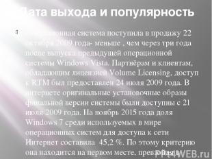Дата выхода и популярность Операционная система поступила в продажу 22 октября 2