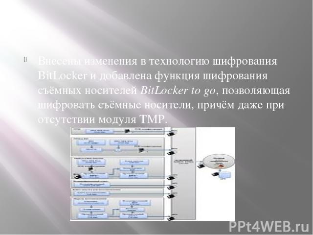 Внесены изменения в технологию шифрования BitLocker и добавлена функция шифрования съёмных носителей BitLocker to go, позволяющая шифровать съёмные носители, причём даже при отсутствии модуля TMP.