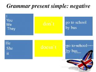 Grammar present simple: negative I You We They don`t go to school by bus doesn`t