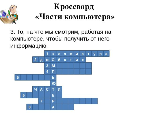 1 к л а в и а т у р а 2 к д ж О й с т и М 3 4 П Ь 5 Ю Т И С А Ч Е 6 Р 7 А 8 Кроссворд «Части компьютера» 3. То, на что мы смотрим, работая на компьютере, чтобы получить от него информацию.