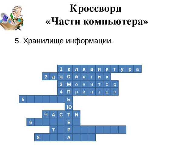 1 к л а в и а т у р а 2 к д ж О й с т и р о т и н о М 3 4 П р и н т е р Ь 5 Ю Т И С А Ч Е 6 Р 7 А 8 Кроссворд «Части компьютера» 5. Хранилище информации.