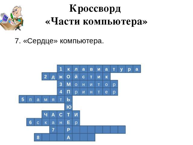 1 к л а в и а т у р а 2 к д ж О й с т и р о т и н о М 3 4 П р и н т е р Ь т я м а п 5 Ю Т И С А Ч р Е н а к с 6 Р 7 А 8 Кроссворд «Части компьютера» 7. «Сердце» компьютера.