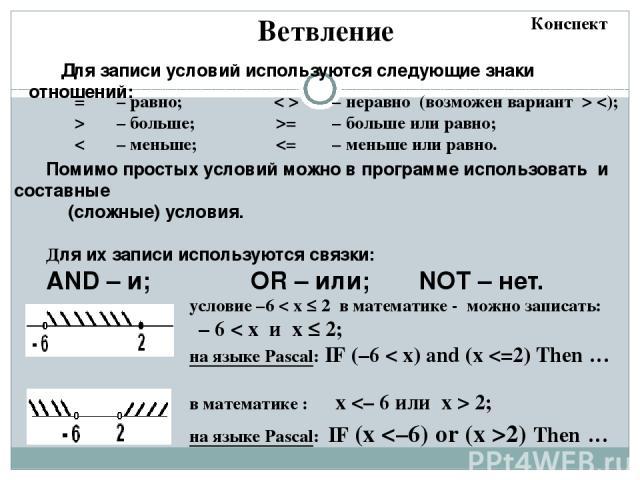 Цикл с предусловием Особенности: условие пересчитывается каждый раз при входе в цикл если условие на входе в цикл ложно, цикл не выполняется ни разу если условие никогда не станет ложным, программа зацикливается a:= 4; b:= 6; while a > b do a:= a – …