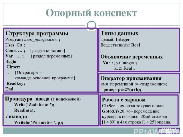 Математическое описание {Описание входных переменных} r – номер работы (const) kl – номер класса (const) b1 – балл 1 задания b2 – балл 2 задания b3 – балл 3 задания Конспект {Формулы} sr = (b1+b2+b3) / 3 {Описание выходных переменных} sr – среднее а…