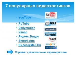 YouTube RuTube Dailymotion Vimeo Яндекс.Видео Smotri.com Видео@Mail.Ru 7 популяр