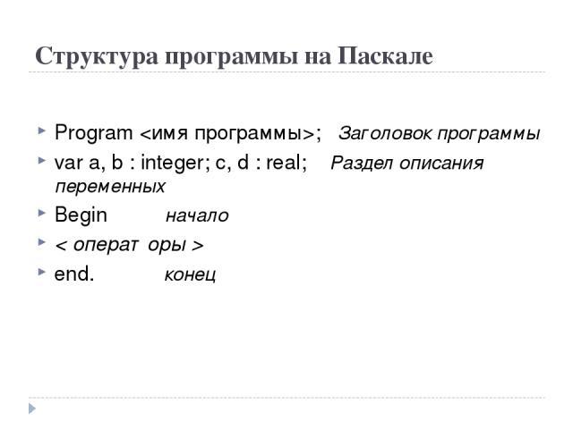 Структура программы на Паскале Program ; Заголовок программы var a, b : integer; с, d : real; Раздел описания переменных Begin начало < операторы > end. конец