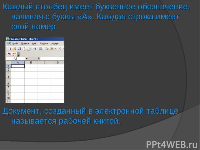 Каждый столбец имеет буквенное обозначение, начиная с буквы «А». Каждая строка имеет свой номер. Документ, созданный в электронной таблице называется рабочей книгой.