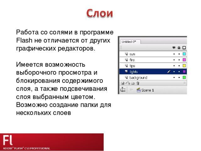 Работа со солями в программе Flash не отличается от других графических редакторов. Имеется возможность выборочного просмотра и блокирования содержимого слоя, а также подсвечивания слоя выбранным цветом. Возможно создание папки для нескольких слоев
