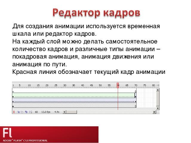Для создания анимации используется временная шкала или редактор кадров. На каждый слой можно делать самостоятельное количество кадров и различные типы анимации – покадровая анимация, анимация движения или анимация по пути. Красная линия обозначает т…