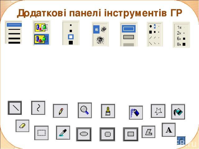 Додаткові панелі інструментів ГР