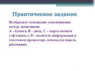 Изобразите отношение соподчинение между понятиями: А - бумага, В - диск, C – кар