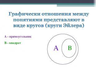 А - прямоугольник В - квадрат А В