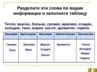 Разделите эти слова по видам информации и заполните таблицу Тепло, вкусно, больн