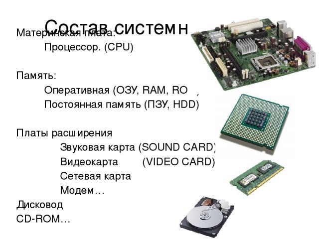 Состав системного блока Материнская плата: Процессор. (CPU) Память: Оперативная (ОЗУ, RAM, ROM) Постоянная память (ПЗУ, HDD) Платы расширения Звуковая карта (SOUND CARD) Видеокарта (VIDEO CARD) Сетевая карта Модем… Дисковод CD-ROM…