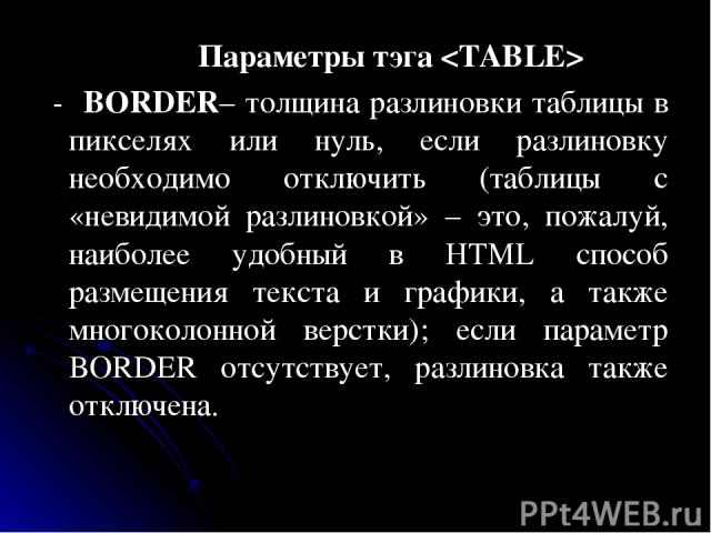 Параметры тэга - BORDER– толщина разлиновки таблицы в пикселях или нуль, если разлиновку необходимо отключить (таблицы с «невидимой разлиновкой» – это, пожалуй, наиболее удобный в HTML способ размещения текста и графики, а также многоколонной верстк…