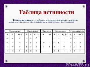 Таблица истинности Таблица истинности — таблица, определяющая значение сложного