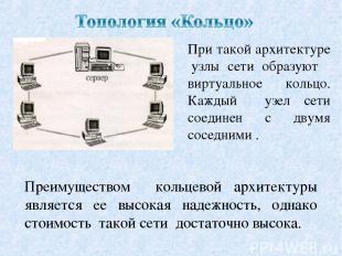При такой архитектуре узлы сети образуют виртуальное кольцо. Каждый узел сети со