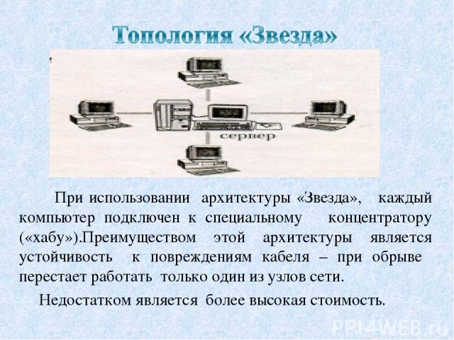 При использовании архитектуры «Звезда», каждый компьютер подключен к специальному концентратору («хабу»).Преимуществом этой архитектуры является устойчивость к повреждениям кабеля – при обрыве перестает работать только один из узлов сети. Недостатко…