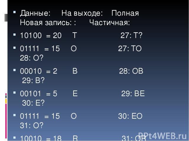 Данные: На выходе: Полная Новая запись: : Частичная: 10100 = 20 T 27: T? 01111 = 15 O 27: TO 28: O? 00010 = 2 B 28: OB 29: B? 00101 = 5 E 29: BE 30: E? 01111 = 15 O 30: EO 31: O? 10010 = 18 R 31: OR 32: R?