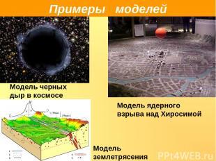 Примеры моделей Модель черных дыр в космосе Модель ядерного взрыва над Хиросимой