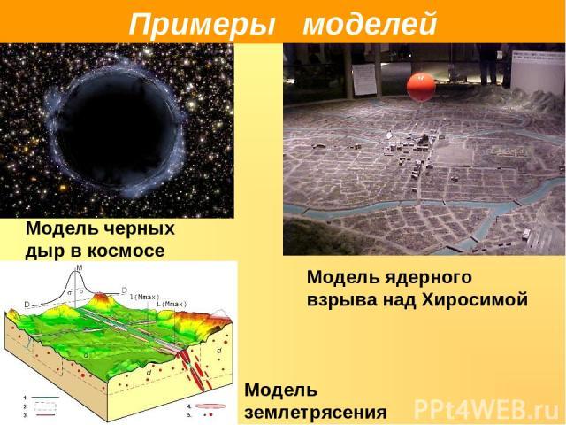 Примеры моделей Модель черных дыр в космосе Модель ядерного взрыва над Хиросимой Модель землетрясения
