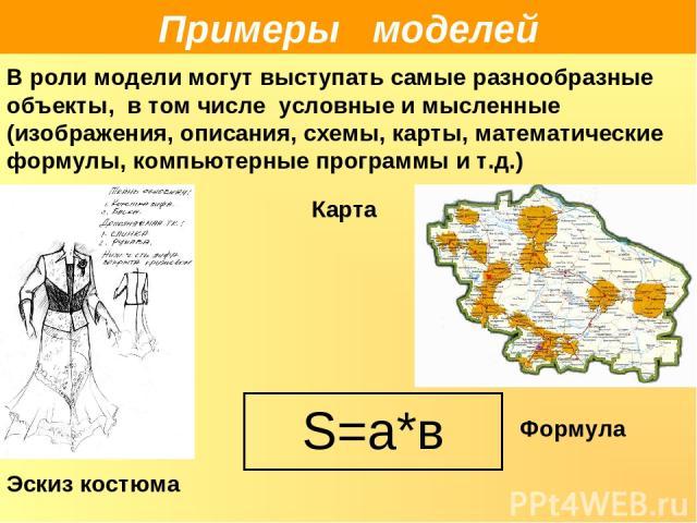 Эскиз костюма Примеры моделей В роли модели могут выступать самые разнообразные объекты, в том числе условные и мысленные (изображения, описания, схемы, карты, математические формулы, компьютерные программы и т.д.) Карта S=а*в Формула