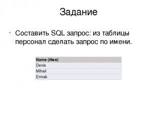 Задание Составить SQL запрос: из таблицы персонал сделать запрос по имени. Name