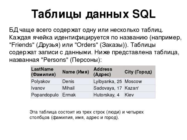Таблицы данных SQL БД чаще всего содержат одну или несколько таблиц. Каждая ячейка идентифицируется по названию (например,