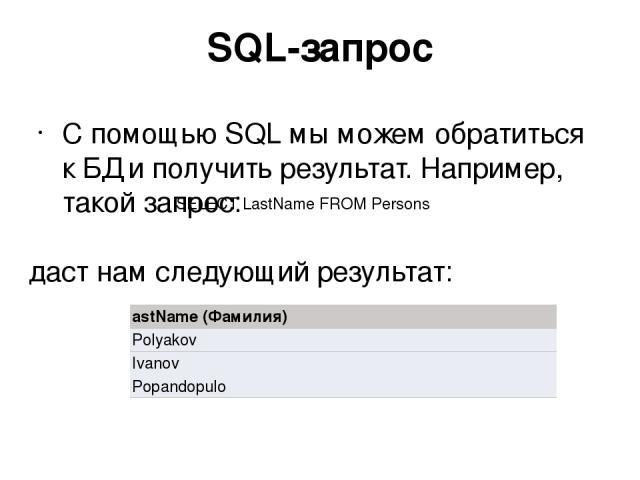 SQL-запрос С помощью SQL мы можем обратиться к БД и получить результат. Например, такой запрос: SELECT LastName FROM Persons даст нам следующий результат: astName (Фамилия) Polyakov Ivanov Popandopulo