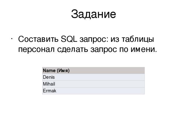 Задание Составить SQL запрос: из таблицы персонал сделать запрос по имени. Name (Имя) Denis Mihail Ermak