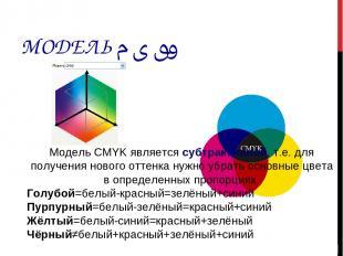 МОДЕЛЬ CMYK Модель CMYK является субтрактивной, т.е. для получения нового оттенк