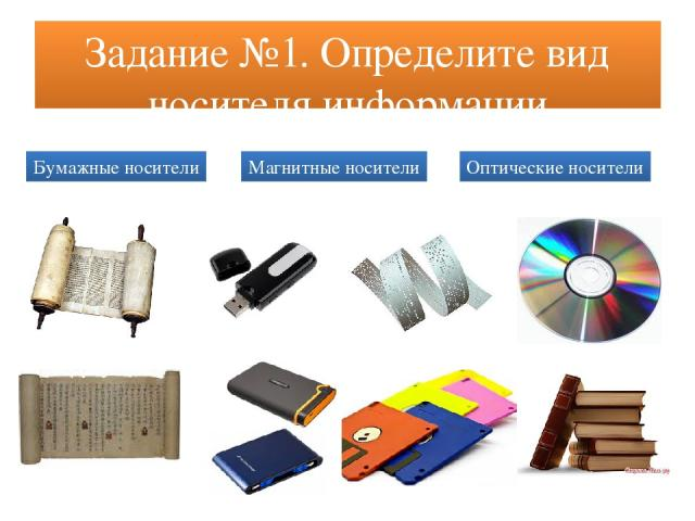 Задание №1. Определите вид носителя информации Бумажные носители Магнитные носители Оптические носители