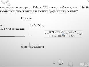 Разрешение экрана монитора – 1024 х 768 точек, глубина цвета – 16 бит. Каков нео