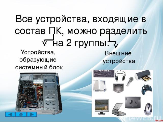 Все устройства компьютера, которые не входят в состав системного блока называются внешними. Основное устройство ввода – это клавиатура