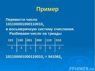 Пример Перевести число 1011000010001100102 в восьмеричную систему счисления. Раз