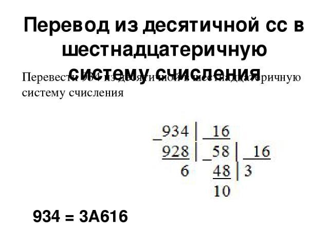 Перевод из десятичной сс в шестнадцатеричную систему счисления 934 = 3А616 Перевести 934 из десятичной в шестнадцатеричную систему счисления