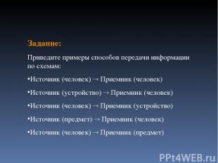 Задание: Приведите примеры способов передачи информации по схемам: Источник (чел