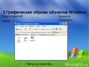 5.Графические образы объектов Windows Окно открытой папки Элементы управления Зн