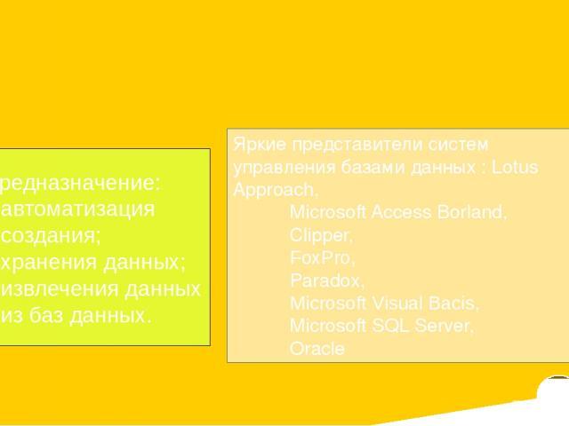 CУБД Access строка – запись стобец – поля совокупность взаимосвязанных таблиц поддержка языка программирования Visual Basic for Applications