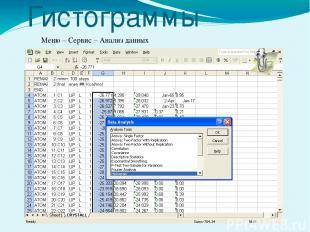 Гистограммы Меню – Сервис – Анализ данных