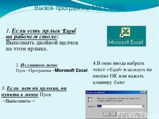 Вызов программы MS EXCEL 1. Если есть ярлык Excel на рабочем столе: Выполнить дв