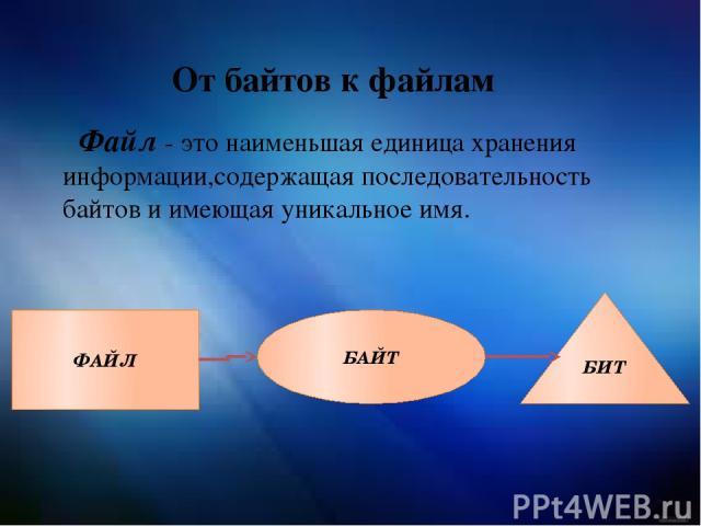 От байтов к файлам Файл - это наименьшая единица хранения информации,содержащая последовательность байтов и имеющая уникальное имя. ФАЙЛ БАЙТ БИТ