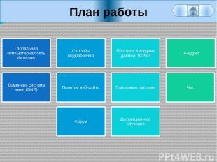 План работы Понятие веб-сайта Глобальная компьютерная сеть Интернет Протокол пер