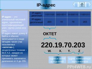 IP-адрес IP-адрес – это уникальный числовой адрес, однозначно идентифицирующий у