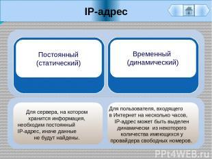 IP-адрес Для сервера, на котором хранится информация, необходим постоянный IP-ад