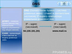 DNS ДОМЕН – название группы (множества) компьютеров, зарегистрированных под общи
