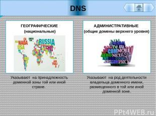 DNS АДМИНИСТРАТИВНЫЕ (общие домены верхнего уровня) Указывают на род деятельност
