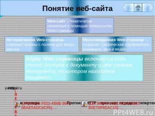 Понятие веб-сайта Мультимедийная Web-страница – содержит графические изображения