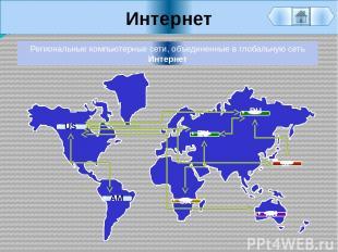 Интернет Региональные компьютерные сети, объединенные в глобальную сеть Интернет