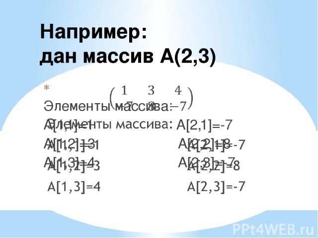 Например: дан массив A(2,3)